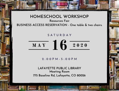 Homeschool Workshop Business Reservation at the Homeschool Resources Fair