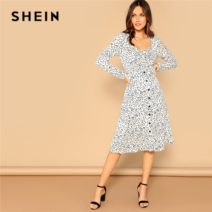 14cad9bfde99 SHEIN Retro Black and White Knot Buttoned Front Polka Dot Puff Sleeve Midi  Dress Women 2019