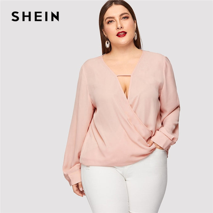 fd48f7f282 SHEIN Sexy Deep V Neck Surplice Wrap Plus Size Women Sweet Pink Blouses  Spring Summer Thin