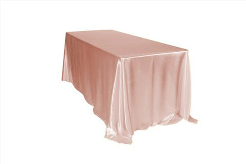 Your Chair Covers - 90 x 156 inch Rectangular Satin Tablecloth Blush, Rectangle Shiny Satin Table Linens for 8 ft Rectangular Tables