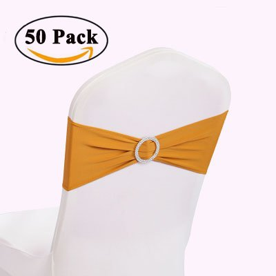 GFCC 50pcs Gold Spandex Chair Sashes Elastic Chair Bands with Buckle Bows Slider Wedding Party Chair Decorations