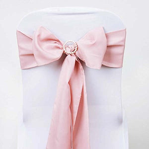 Efavormart 5 PCS Rose Gold Polyester Chair Sashes Tie Bows for Wedding Events Decor Chair Bow Sash Party Decor Supplies - 6x108