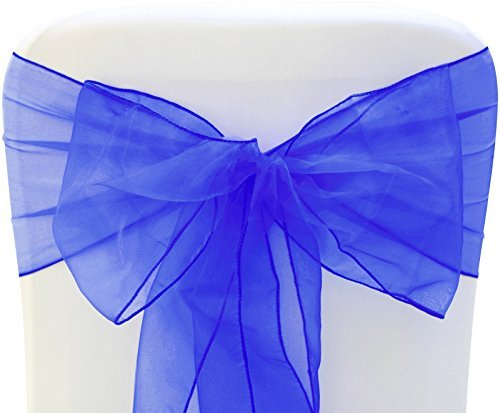 Sarvam Fashion Set of 10 Chair Bows Sashes Tie Back Decorative Item Cover ups for Wedding Reception Events Banquets Chairs Decoration (Royal Blue)