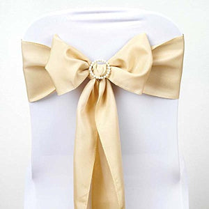 Efavormart 25 PCS Champagne Polyester Chair Sashes Tie Bows for Wedding Events Decor Chair Bow Sash Party Decor Supplies - 6x108