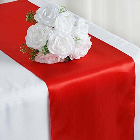 "Efavormart Premium Satin Table Top Runner for Weddings Birthday Party Fit Rectangle and Round Table 12"" x 108"" Red"