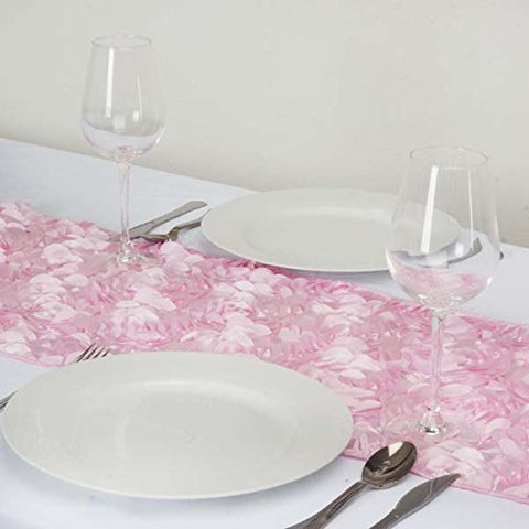 Efavormart Paradise Rosette Premium Table Runners for Wedding Birthday Party Banquets Decor Fit Rectangle and Round Table - Pink