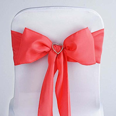 Efavormart 25 PCS Coral Polyester Chair Sashes Tie Bows for Wedding Events Decor Chair Bow Sash Party Decor Supplies - 6x108
