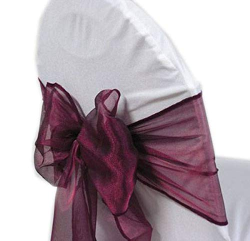 mds Pack of 50 Organza Chair sash Bow Sashes for Wedding and Events Supplies Party Decoration Chair Cover sash -Dark Purple