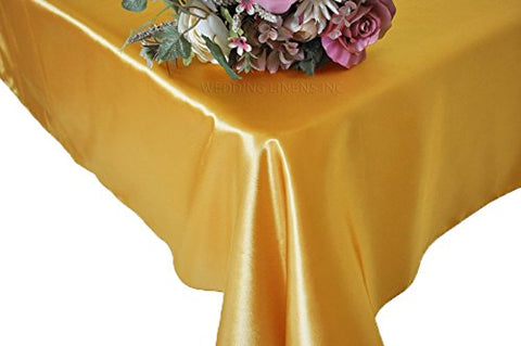 "Wedding Linens Inc. 90"" x 132"" Rectangular Seamless satin tablecloths Table Cover Linens for Restaurant Kitchen Dining Wedding Party Banquet Events - Gold"