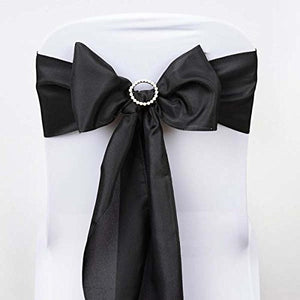 Efavormart 25 PCS Black Polyester Chair Sashes Tie Bows for Wedding Events Decor Chair Bow Sash Party Decor Supplies - 6x108