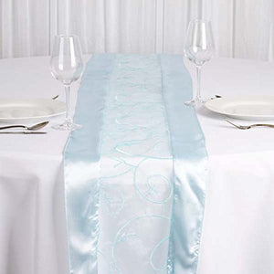 Efavormart 5PCS of Light Blue Organza Embroidered Premium Table Top Runner for Weddings Party Decor Fit Rectangle and Round Table