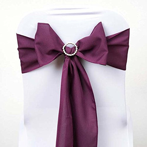 Efavormart 25 PCS Eggplant Polyester Chair Sashes Tie Bows for Wedding Events Decor Chair Bow Sash Party Decor Supplies - 6x108