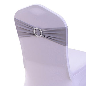 LoveHomeBaby 50PCS Spandex Chair Sashes Bows Elastic Chair Bands With Buckle Slider Sashes Bows For Wedding Decorations Without Covers (Dark Gray)
