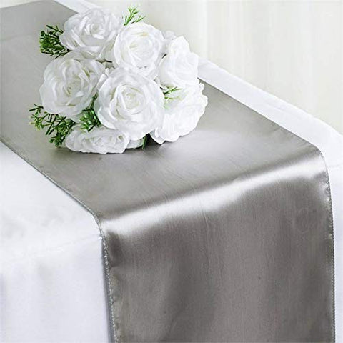 "Efavormart 10 Packs of Premium Satin Table Top Runner for Weddings Birthday Party Fit Rectangle and Round Table 12"" x 108"" - Silver"