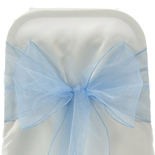 Firefly Imports Homeford Organza Chair Bows Sash, Light Blue, 9-Inch by 10-Feet