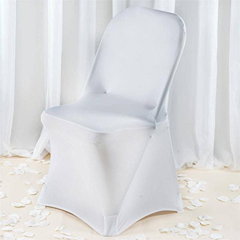 BalsaCircle 10 pcs White Premium Spandex Stretchable Folding Chair Covers Slipcovers for Wedding Party Reception Decorations