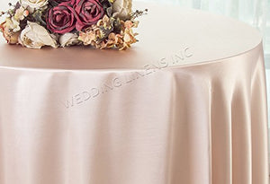 "Wedding Linens Inc. 132"" Round Heavy Duty Satin tablecloths Table Cover Linens for Restaurant Kitchen Dining Wedding Party Banquet Events - Blush Pink"