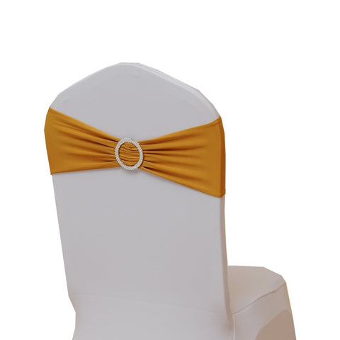 Fvstar 10pcs Gold Wedding Chair Sashes Bow Spandex Chair Cover Bands Party Chair Ribbons for Baby Shower Banquet Christmas Thanksgiving Decorations