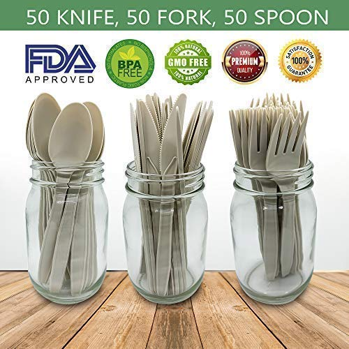 "Compostable CPLA Heavyweight Disposable Cornstarch Cutlery Set 150 Count | 7"" Inch Spoons, Forks,Knives – 50 Each 