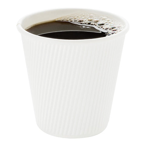 500-CT Disposable White 8-OZ Hot Beverage Cups with Ripple Wall Design: No Need for Sleeves – Perfect for Cafes – Eco-Friendly Recyclable Paper – Insulated – Wholesale Takeout Coffee Cup