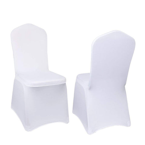 VEVOR 100 Pcs White Chair Covers Polyester Spandex Chair Cover Stretch Slipcovers for Wedding Party Dining Banquet Chair Decoration Covers (Flat Chair Cover, White/100PC)