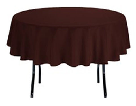 TEKTRUM 90 INCH ROUND POLYESTER TABLECLOTH - THICK/HEAVY DUTY/DURABLE FABRIC - CHOCOLATE COLOR