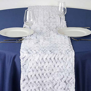 Efavormart Pompous Puffilicious Satin Table Runner - White