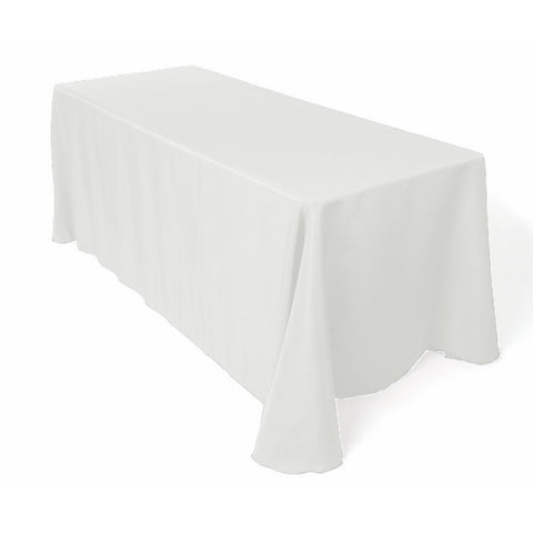 "Craft And Party 90"" X 132"" Rectangular Polyester Tablecloth (White)"