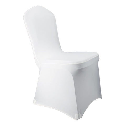 White Stretch Spandex Chair Covers Wedding Universal - 100 Pcs Banquet Wedding Party Dining Decoration Scuba Elastic Chair Covers (White, 100)