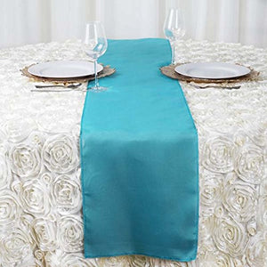 Efavormart Turquoise Premium Polyester Table Top Runner for Weddings Birthday Party Banquets Decor Fit Rectangle and Round Table
