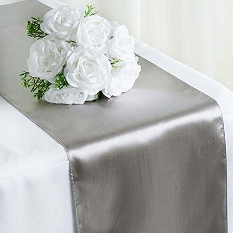 "Efavormart 5PCS of Premium Satin Table Top Runner for Weddings Birthday Party Fit Rectangle and Round Table 12"" x 108"" - Silver"