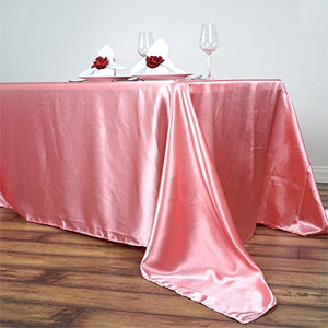 BalsaCircle 90x156 inch Rose Quartz Pink Satin Rectangle Tablecloth Table Cover Linens Wedding Table Cloth Reception Events Kitchen Dining