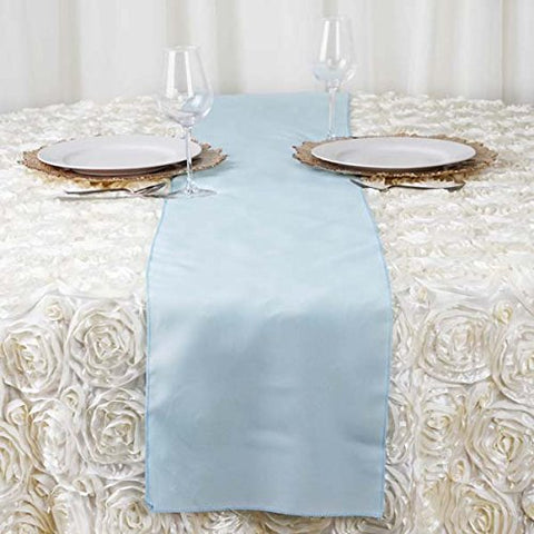 Efavormart 5PCS of Light Blue Premium Polyester Table Top Runner for Weddings Party Banquets Decor Fit Rectangle and Round Table