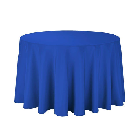 "Gee Di Moda Tablecloth - 108"" Inch Round Tablecloths for Circular Table Cover in Royal Blue Washable Polyester - Great for Buffet Table, Parties, Holiday Dinner & More"
