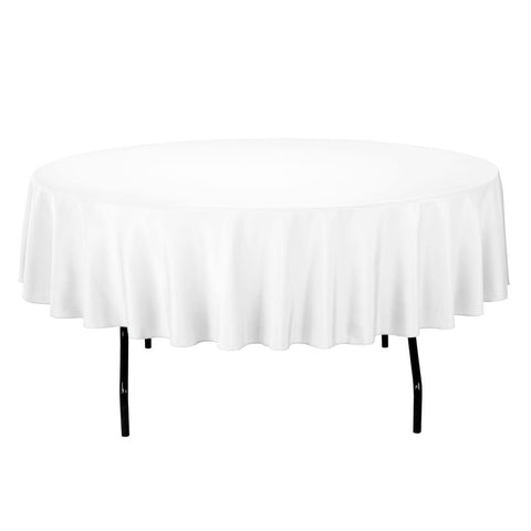 "Gee Di Moda Tablecloth - 90"" Inch Round Tablecloths for Circular Table Cover in White Washable Polyester - Great for Buffet Table, Parties, Holiday Dinner & More"