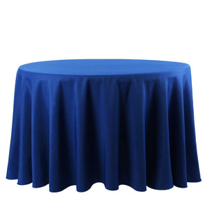 E-TEX 132-Inch Round Tablecloth, 100% Polyester Washable Table Cloth for Circular Table, Royal Blue