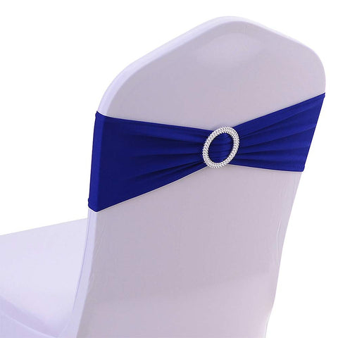 50PCS Spandex Chair Sashes Bows Elastic Chair Bands with Buckle Slider Sashes Bows for Wedding Decorations Without White Covers (Royal Blue)