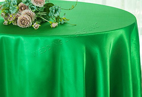 "Wedding Linens Inc. 108"" Round Seamless satin tablecloths Table Cover Linens for Restaurant Kitchen Dining Wedding Party Banquet Events - Emerald"