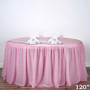 "Efavormart 120"" Pink 3 Layer Tulle Tutu Tablecloths Satin Pleated Top Table Skirt Style Cover for Wedding Party Event"