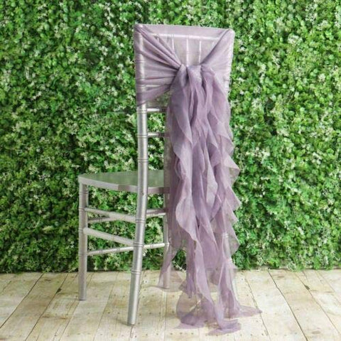 1 Premium Chair Cover with Curly Chiffon Ruffled Sashes for Wedding Decorations (Amethyst)