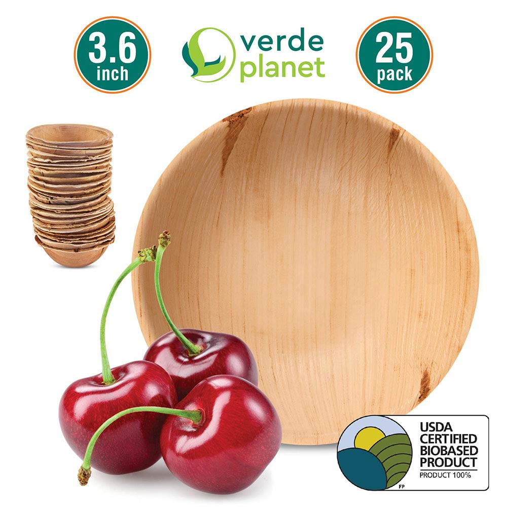 Verde Planet - 3.6 inch Round Palm Leaf Bowls - Biodegradable, Ecofriendly, Disposable, Sturdy, Elegant, Premium Quality Bowls, USDA Certified - 25 Count