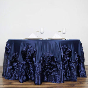 "Efavormart 132"" Navy Blue Large Rosette Round Lamour Satin Tablecloth for Wedding Party Decoration Kitchen Dining Catering"