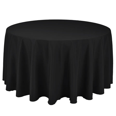 VEEYOO Round Tablecloth 132 inch - Solid Polyester Circular Table Cover for Wedding Party Restaurant Buffet Kitchen Dinner, Black Table Cloth