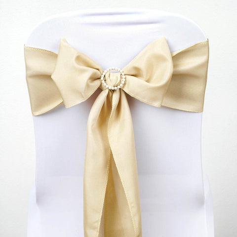 Efavormart 25 PCS Beige Polyester Chair Sashes Tie Bows for Wedding Events Decor Chair Bow Sash Party Decor Supplies - 6x108