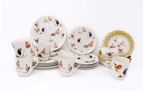 Tudor Royal Collection 24-Piece Premium Quality Porcelain Dinnerware Set, Service for 6 - Rooster;See 10 Designs Inside!