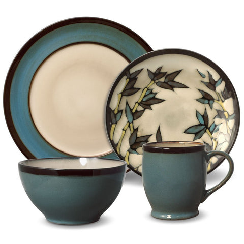 Gourmet Basics Belmont Round Blue Stalks Dinnerware Set (32 Piece)