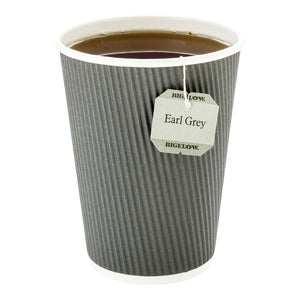 500-CT Disposable Gray 12-OZ Hot Beverage Cups with Ripple Wall Design: No Need for Sleeves – Perfect for Cafes – Eco-Friendly Recyclable Paper – Insulated – Wholesale Takeout Coffee Cup
