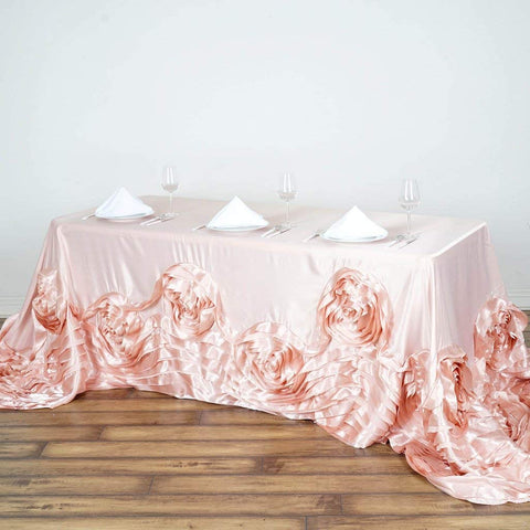 "Efavormart 90""x156"" Rose Gold/Blush Large Rosette Rectangle Tablecloth Lamour Satin Tablecover for Wedding Party Dining Birthday"