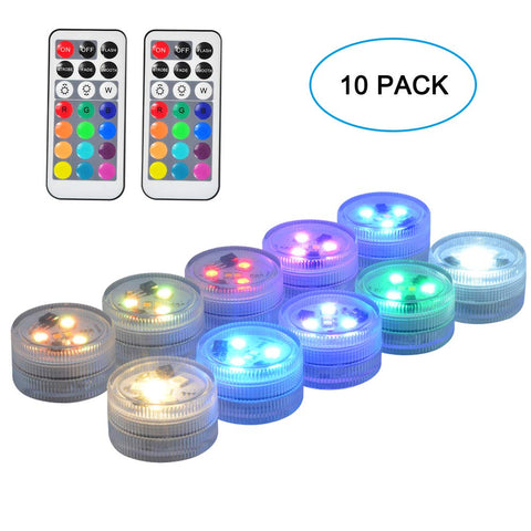 "SEED 10 Pack 1.5"" Round Submersible LED Lights, Exclusive 100% Waterproof Battery Operated Super Bright Flameless LED Craft Accent Light with Remote for Party Event Vase Lantern Wedding Centerpieces"