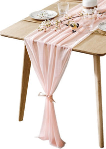 BOXAN Gorgeous Light Peach Table Runner 30x120 Inch for Blush Romantic Wedding Decor, Bridal Shower, Baby Shower, Birthday Party Cake Table Decorations